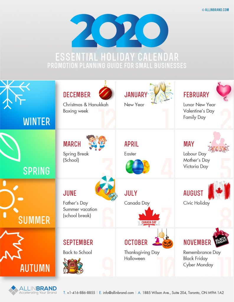 2020 Holiday Promotion Calendar for Small Business Marketing